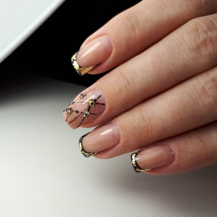Розовый Френч С Рисунком На Ногтях Фото