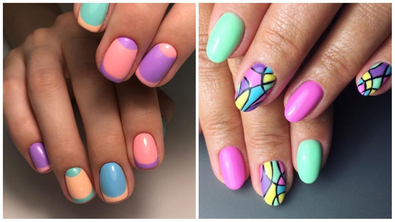 Разноцветный маникюр, цветной дизайн ногтей: фото 23