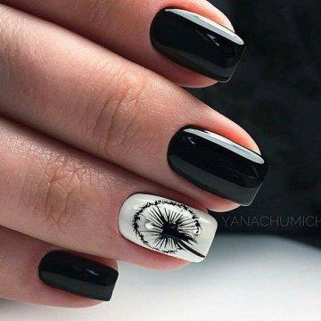 Черный дизайн ногтей 2019: идеи, фото-новинки