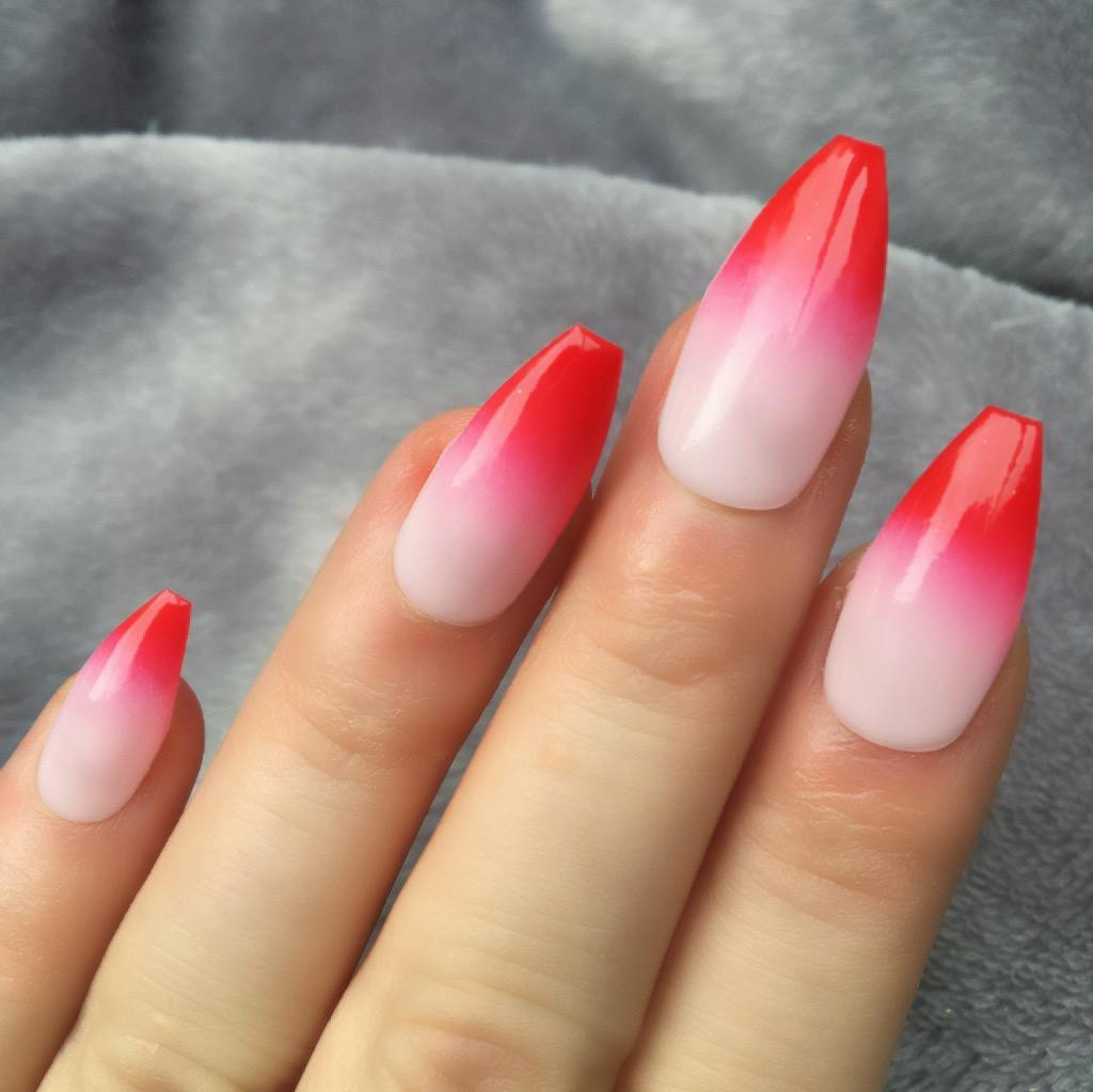 pink and white ombre nails - HD1024×1022