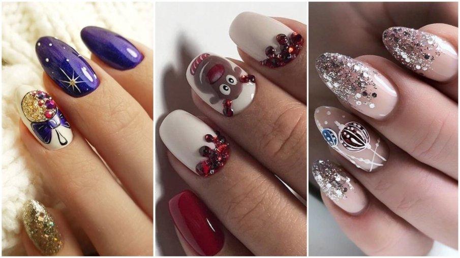 Ногти новогодние блестки