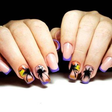 Дизайн ногтей с пальмами: 132 лучшие фото-новинки