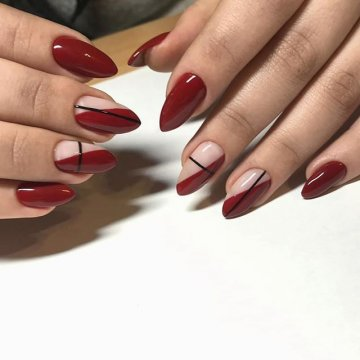 Вишневые ногти: красивые идеи дизайна (80 фото)
